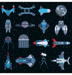 Spacecrafts flat icons equipment set cosmonaut vector