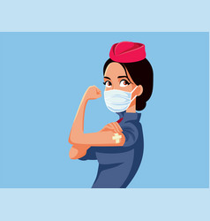Stewardess showing vaccinated arm vector