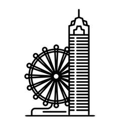 Taipei ferris wheel icon outline style vector