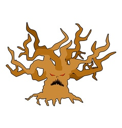 Terrible tree monster with evil eyes Ancient tree vector