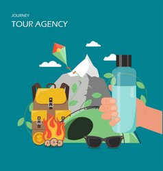 Tour agency poster banner flat vector