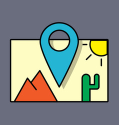 Travel pin location on a global map flat icon vector