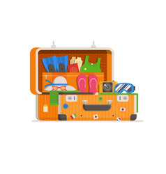 travel suitcase full things vector image