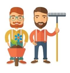 Two men with wheelbarrow and rake vector