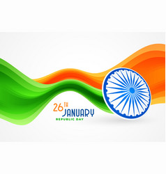 Wavy indian republic day flag background design vector