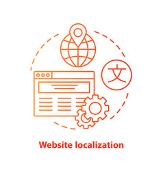 Website localization red concept icon website vector