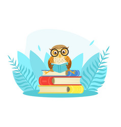 wise owl bird character in glasses sitting on pile vector image