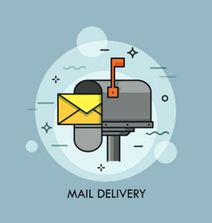 Yellow envelope in opened mailbox express mail vector