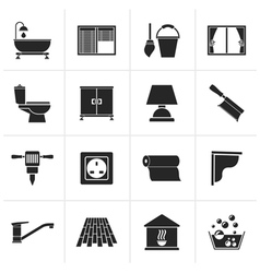 Black Construction and building equipment Icons vector image