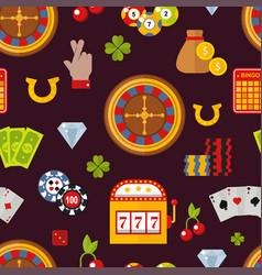 Casino game poker gambler symbols seamless pattern vector