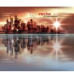 City skyline at night with reflection in water vector image vector image