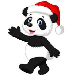 Cute panda cartoon wearing red hat waving hand vector image vector image