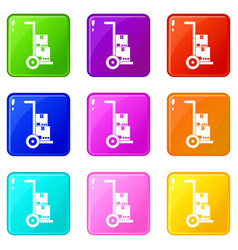 Hand cart with cardboards set 9 vector