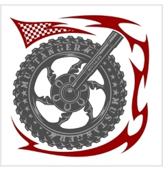 Moto Logo Symbol inside wheel and tribal vector image