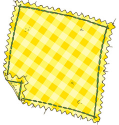 Piece of yellow plaid fabric vector