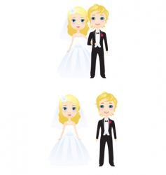 the bride and groom vector image vector image