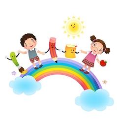 Back to school School kids over rainbow vector image vector image