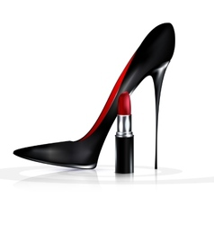 black shoe and lipstick vector image vector image