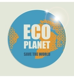 Eco planet with sun rays vector image vector image