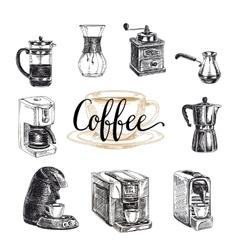 hand drawn coffee set Sketch vector image vector image
