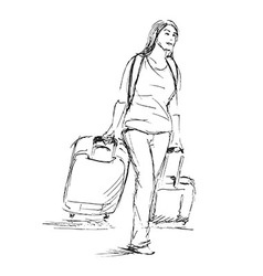 Hand sketch woman with a suitcase vector image vector image