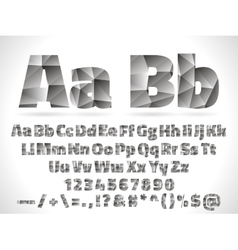 Lowpoly Font alphabet with numbers and vector image