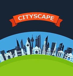 Modern city flat design background vector image vector image