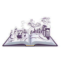 open book fairy tale snow queen vector image vector image