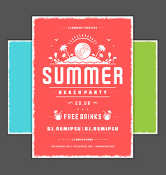 retro summer party design poster or flyer vector image vector image