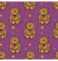 seamless pattern with cute teddy bear vector image