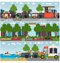 training outdoors concept flat poster set vector image