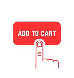 Add to cart button with red thin line palm vector