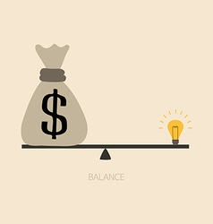 Balancing between money and idea vector image vector image