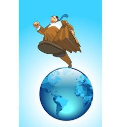 Globe runner concept vector image vector image