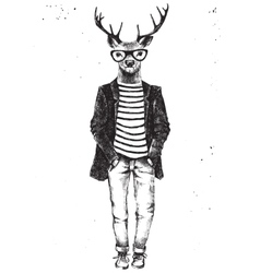 Hand drawn dressed up deer in hipster style vector