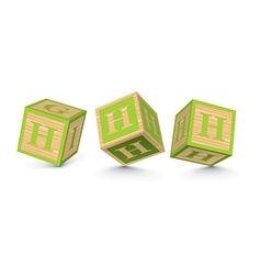 Letter h wooden alphabet blocks vector