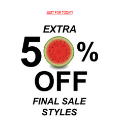 sale poster with watermelon vector image