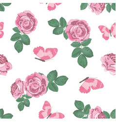 shabby chic roses and butterflies seamless pattern vector image