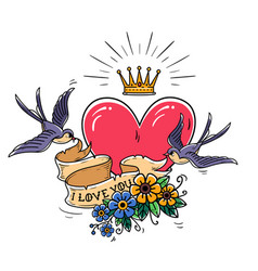 tattoo with heartflowersgold crownswallows vector image vector image