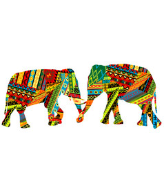 Two elephants in the ethnic motifs pattern vector