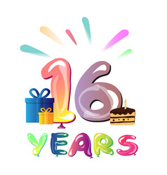 16 years birthday celebration greeting card vector image vector image