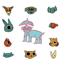 cartoon flat animals set icon stickers vector image