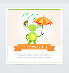 cute funny green monster with colorful umbrella vector image