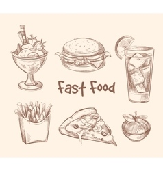 Fast food set in hand drawn sketch style vector image vector image