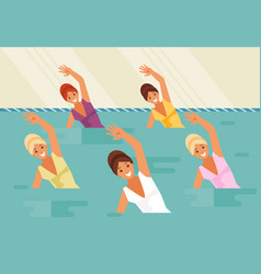 Synchronized swimming water aerobics vector