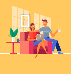 young couple relaxing on the couch with laptop in vector image