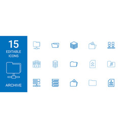 15 archive icons vector image