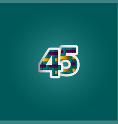 45 years anniversary celebration elegant color vector