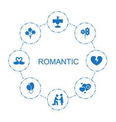 8 romantic icons vector image