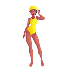 A dark woman in a yellow bathing suit for swimming vector